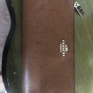 Coach British Tan zip around wallet